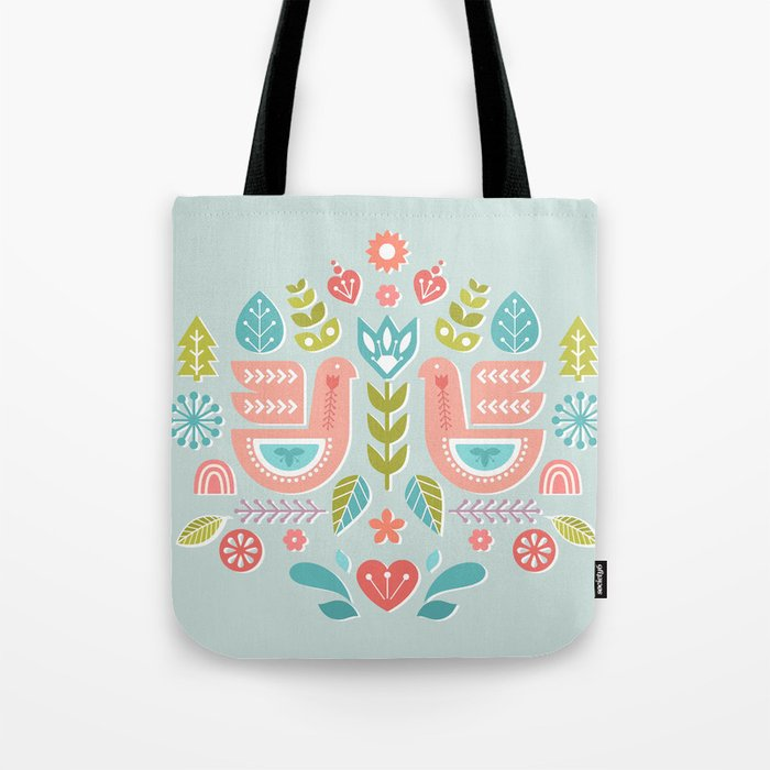 Simple And Sweet Songs Scandinavian Folk Art Design Tote Bag By Sunnybunny