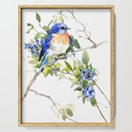 Bluebird and Blueberry Serving Tray