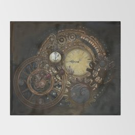 Steampunk Clocks Throw Blanket