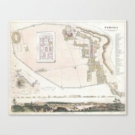 Vintage Map of Pompeii Italy (1832) Canvas Print