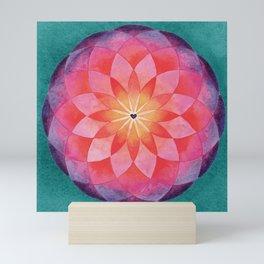 Watercolor Sacred Geometry Flower Mandala Mini Art Print