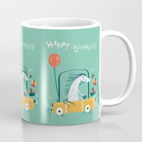 happy birthday Mugs featuring Happy birthday! by Villie Karabatzia