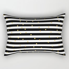 Modern black white gold polka dots striped pattern Rectangular Pillow