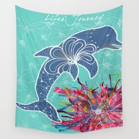 dolphin Wall Tapestries featuring Dolphin by Julie M Studios