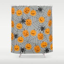 Hallween pumpkins spider pattern Shower Curtain