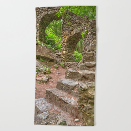 Forest Castle Ruins Beach Towel