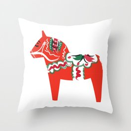 Swedish Wooden Horse Throw Pillow