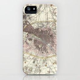 Vintage Map of Paris France (1883) iPhone Case