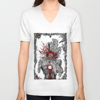 mad hatter V-neck T-shirts featuring Mad Hatter by Mongolizer