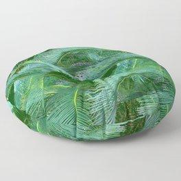 ABSTRACTED BLUE-GREEN TROPICAL PALMS GREEN ART Floor Pillow
