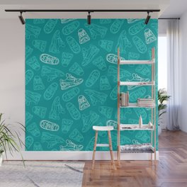 Sneakers // Turquoise Wall Mural