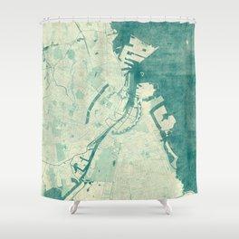 Copenhagen Map Blue Vintage Shower Curtain