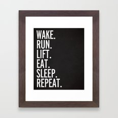 Run, Sleep, Repeat Gym Quote Framed Art Print