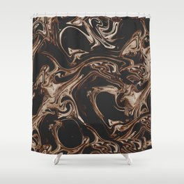 Ruin - Dark Suminagashi Marble Series: 01 Shower Curtain