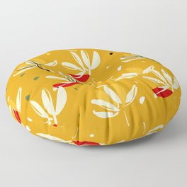 Vanilla flowers on a peanut background Floor Pillow