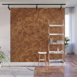 Brown Wood Carved Leafs Pattern Wall Mural