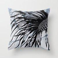 headdress Throw Pillows featuring headdress by Snow & Ink