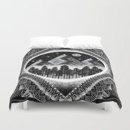 Moon, Mountains, and Stars Geometric Black and White Duvet Cover
