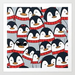 Merry Christmas Penguins! Art Print