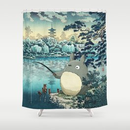 Japanese woodblock mashup Shower Curtain