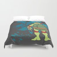 tmnt Duvet Covers featuring Raphael - TMNT by Roe Mesquita