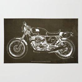 2010 Moto Guzzi V7 Clubman Racer brown blueprint Rug