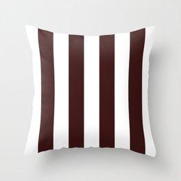 Vertical Stripes - White and Dark Sienna Brown Throw Pillow