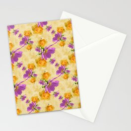 Cosmos and Rose Pattern Stationery Cards