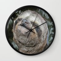 sloth Wall Clocks featuring Sloth by Bruce Stanfield