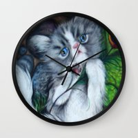 biggie smalls Wall Clocks featuring Smalls by Sadie Perry-Pie