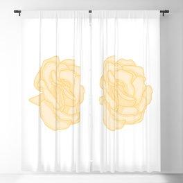 Yellow Rose Illustration Blackout Curtain