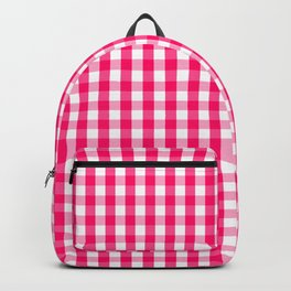 Hot Neon Pink and White Gingham Check Backpack