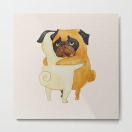 Pug Hugs Watercolor Metal Print