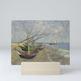 """Vincent Van Gogh """"Fishing boats on the Beach at Les Saintes-Maries-de-la-Mer"""" Mini Art Print"""