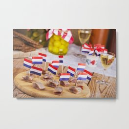 II - Dutch herring ('haring') with onions and pickles on rustic table Metal Print