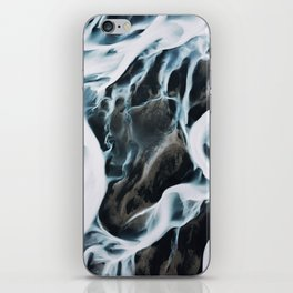 Aerial of an abstract River in Iceland iPhone Skin