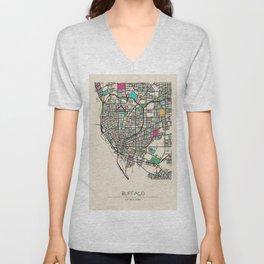 Colorful City Maps: Buffalo, New York Unisex V-Neck