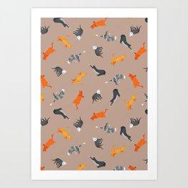Cat Pattern | Light Brown Background | Cats Illustration Art Print