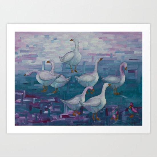 A Gaggle of Geese Art Print