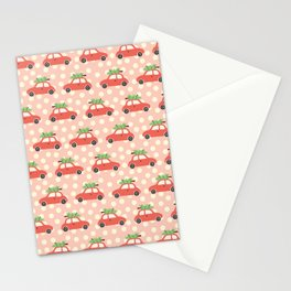 Red Vintage Holiday Christmas Cars Stationery Cards