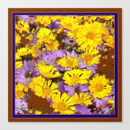 COFFEE BROWN YELLOW LILAC FLOWERS Canvas Print