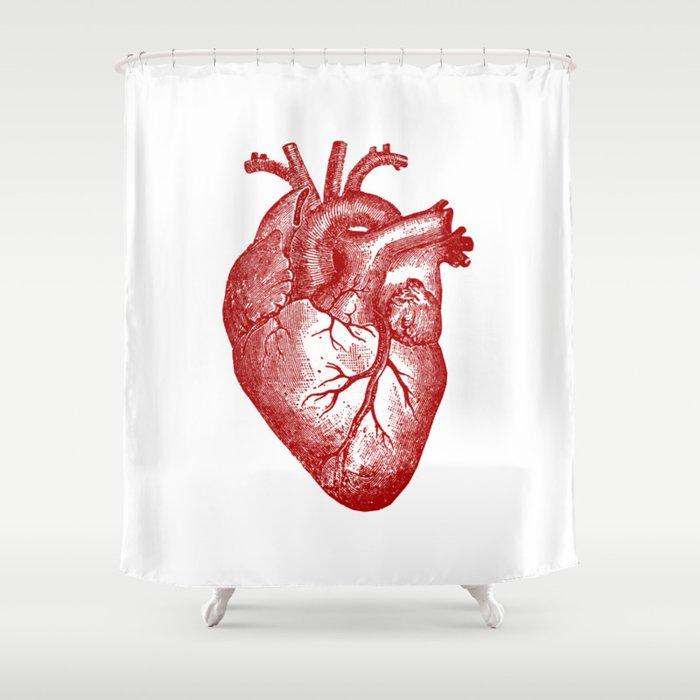 Vintage Heart Anatomy Shower Curtain