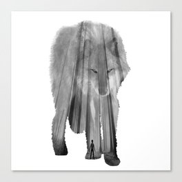 Wild Forest Wolf II - Black and White Canvas Print
