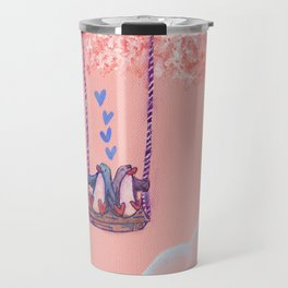 Penguins in Love on Their Tree Swing in a Pink Sky Travel Mug
