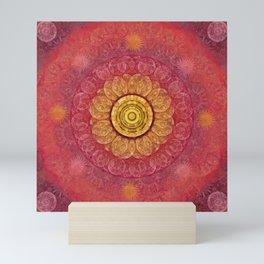 """""""Strawberry pink shades & Gold Mandala (pattern)"""" Mini Art Print"""