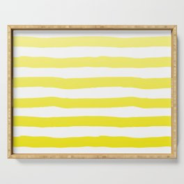 Sun Yellow Handdrawn horizontal Beach Stripes - Mix and Match with Simplicity of Life Serving Tray