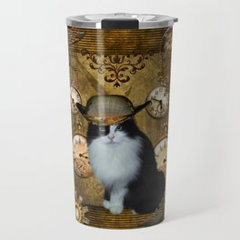 Funny cat with steampunk hat Travel Mug