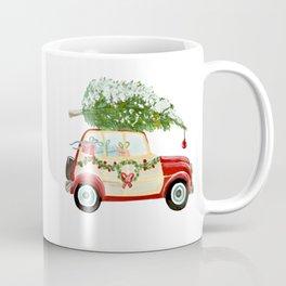 Vintage Christmas car with tree red Coffee Mug