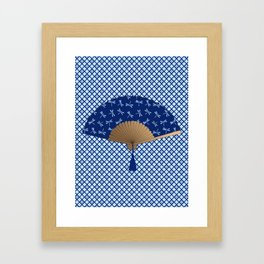 Japanese Fan, Dragonfly Pattern, Cobalt Blue Framed Art Print