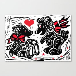 Teds in Love, lino cut Canvas Print